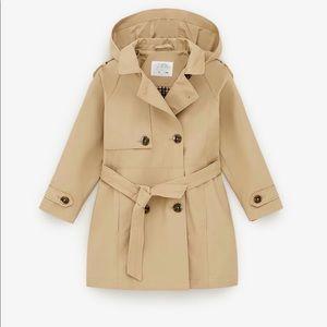 Zara Kids Girl Beige Hooded Trench Coat 13 14 XS